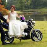 Dan and Sarah Whitehouse at their motorbike wedding