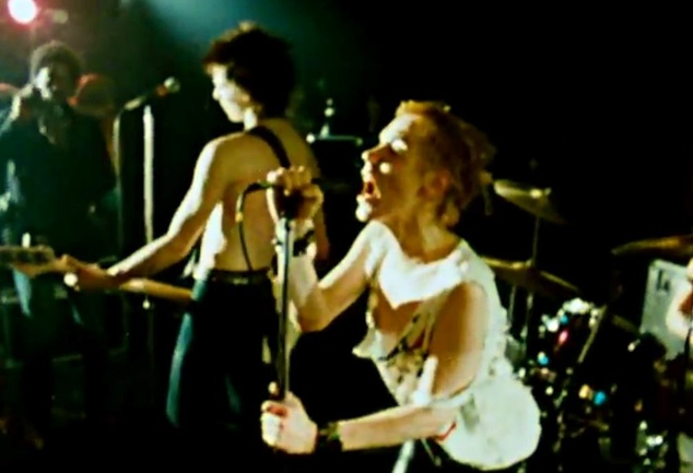 The punk screamed and spat into the crowd during the frenzied show, which had to be kept secret because the group were banned from performing at many places