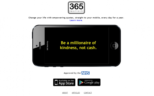 The 365 Positivity app is recommended by the NHS