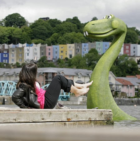 A woman sunbathing is rudely interrupted by a Monster in the River Avon in Bristol after a PR stunt by First Great Western Railway