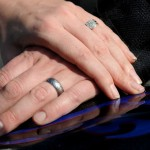 How the ring looks on Dan's finger next to his wife's more traditional ring