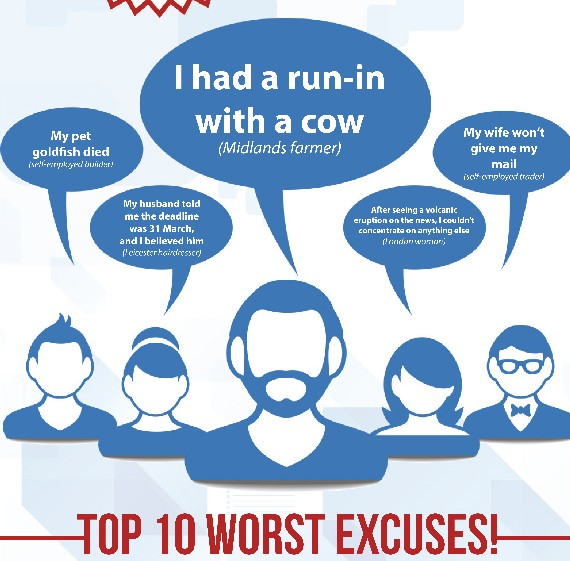 The top 10 worst excuses for not doing a tax return on time