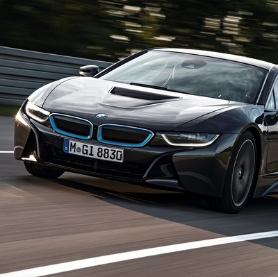 The new green BMW i8 supercar which is capable of 155mph and 113mpg