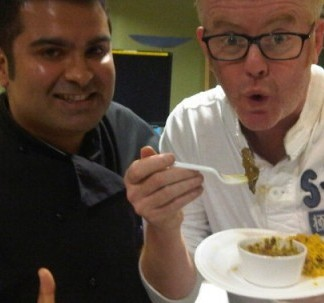 Celebrity chef and author Gurpareet Bains, a Palamedes client, live on BBC Radio 2 with Chris Evans