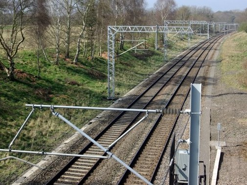 The railway to Coventry from Brandon Wood close to where the motorcyclist was killed