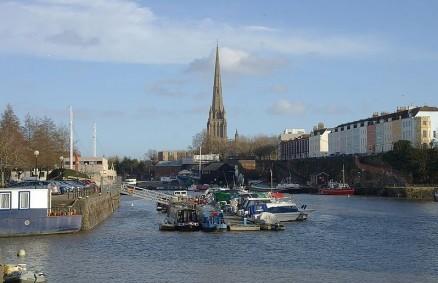 Bristol docks, where Michael Barker went for a skinny dip while naked