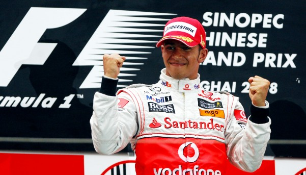 Lewis Hamilton celebrates his victory during the F1 Chinese Grand Prix at the Shanghai International Circuit in Shanghai