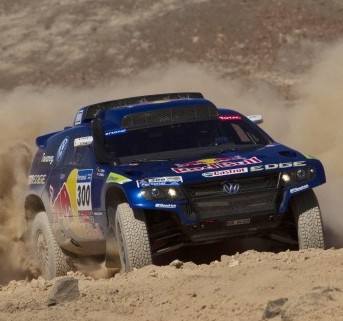 A Volkswagen Touareg in action during the eighth stage of the Dakar Rally 2011, from Antofagasta to Copiapo