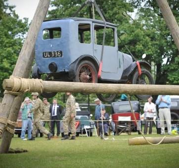 Members of Cambridge University OTC recreate the Senate House Austin Seven car stunt