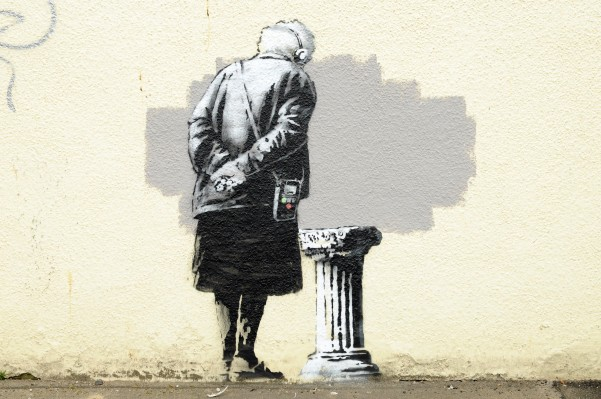The Banksy 'Art Buff' mural worth £300k which has now been drilled off the wall in order to be sold
