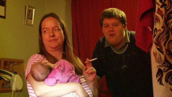 Unmarried Mother and father of 13 Mandy Ball and Tim Fisk with baby Satin-Tia