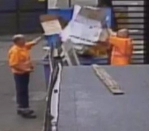 The reprehensible pair of binmen are caught on camera stuffing a bin FULL so they don't have to carry it away