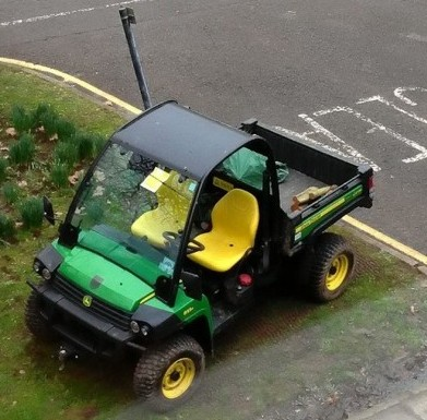A ticket on the gardening buggy which was at work collecting leaves