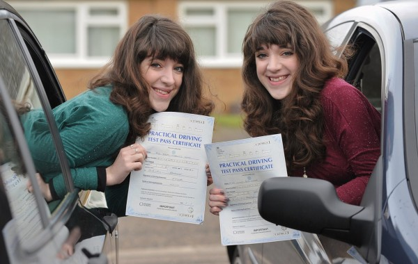 Naomi (left) and Hannah Moxon after passing their driving test