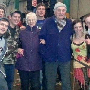 Dick and Lil Dickens pose with a group of ravers after they wandered into a drug-fuelled illegal techno party