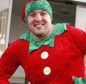 Jon Douglas, 29, has been commuting to work everyday dressed as an elf to raise money for charity