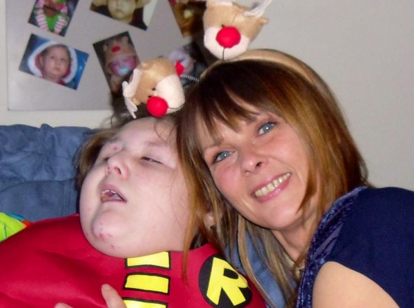 Tracie Kirby with her son Lucas who has spoken his first word aged nine