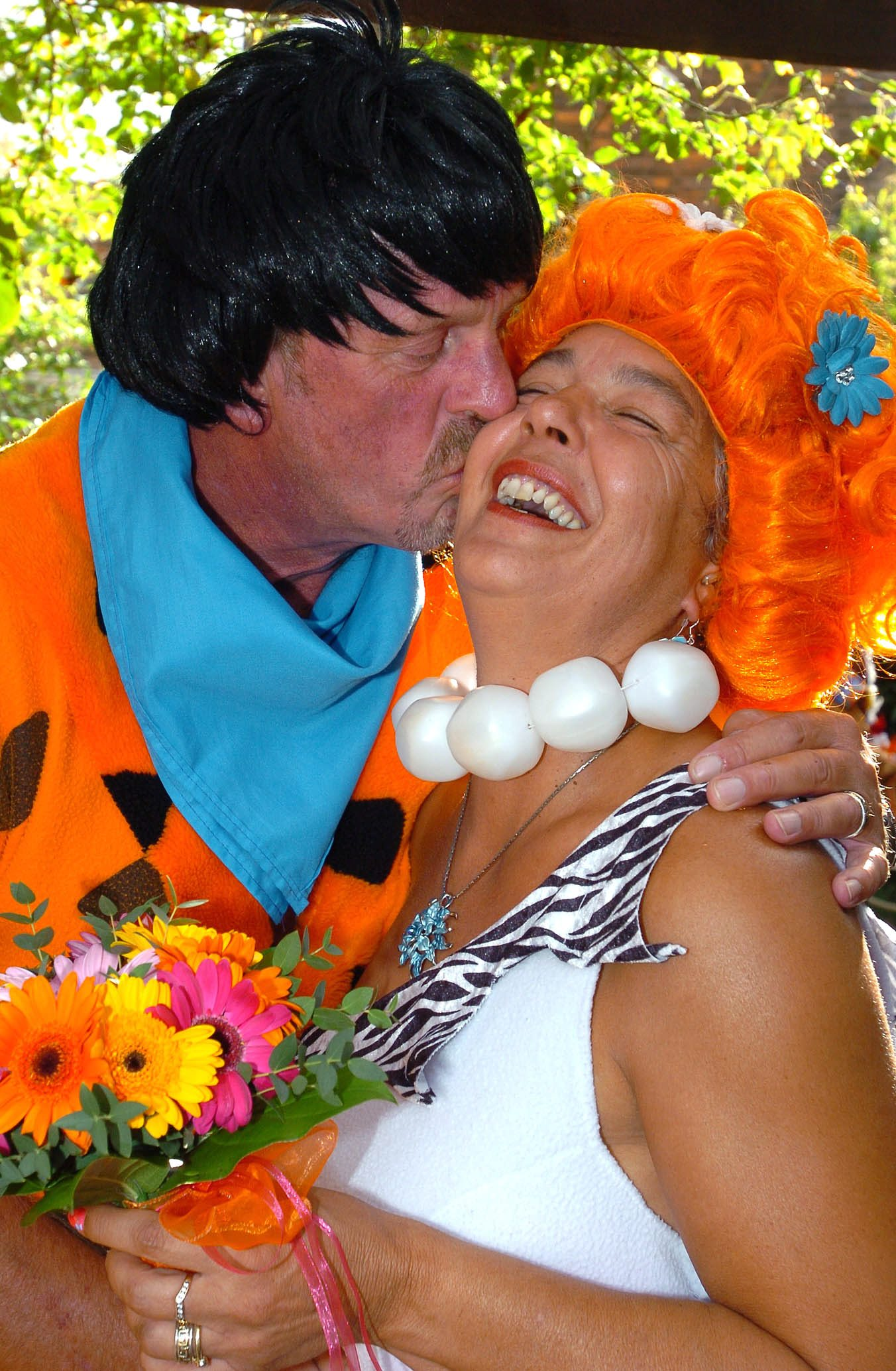 David and Linda Alves as Fred and Wilma on their wedding day