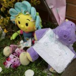 Floral tributes that were left at Marston Surgery, where Lucy stopped breathing