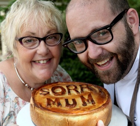 Michelin starred chef Richard Bainbridge, his mother Jill and the Humble Pie he made her after forgetting her in his wedding speech