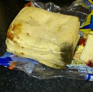 The sickening mouldy sandwich that carers tried to feed to a Rita Sinnix's elderly father