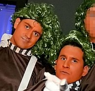 Matthew Wright and Louis Gelinas dressed as Oompa Loompas with friends on the fancy dress night out