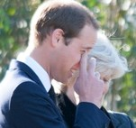 Prince William sheds a tear after arriving at Parndon Wood Cemetery for the funeral of his nanny Olga Powell