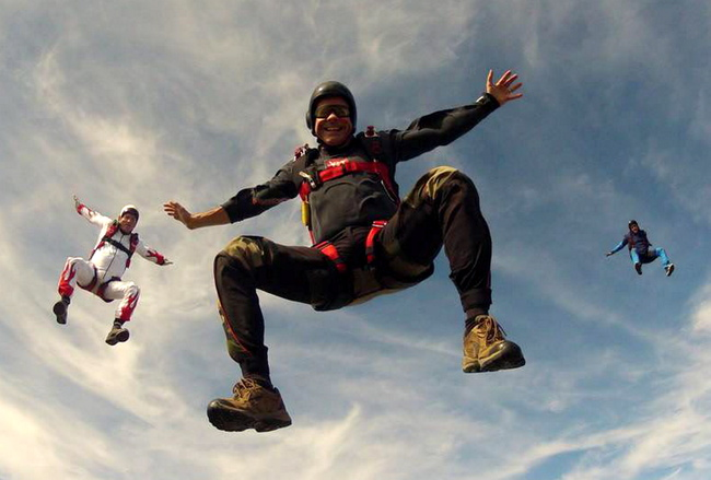 Patrick Sandeman on a previous jump. He fell to his death after his parachute became tangled with another skydiver 50ft above the ground