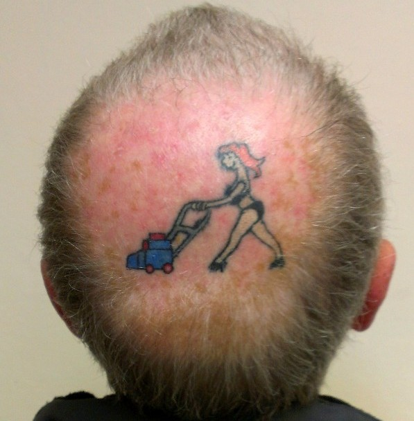 Bob Baker, 68, with a tattoo on his bald patch of his 28-year-old wife mowing the lawn in a bikini
