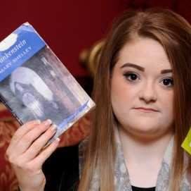 Abbie Stallabrass with a copy of Bram Stoker's novel Dracula which she was told to study and a copy of Mary Shelley's Frankenstein which is what she found she was going to be tested on