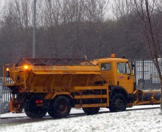 A Northamptonshire gritting lorry like those that have been pelted with rocks by impatient drivers