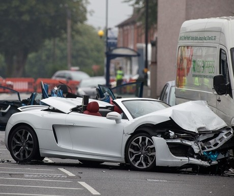 The mangled Audi R8 sports car