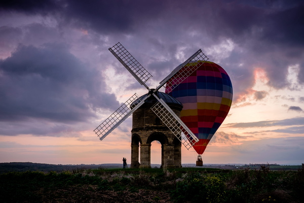The hot air balloon narrowly misses colliding with a 350-year-old WINDMILL