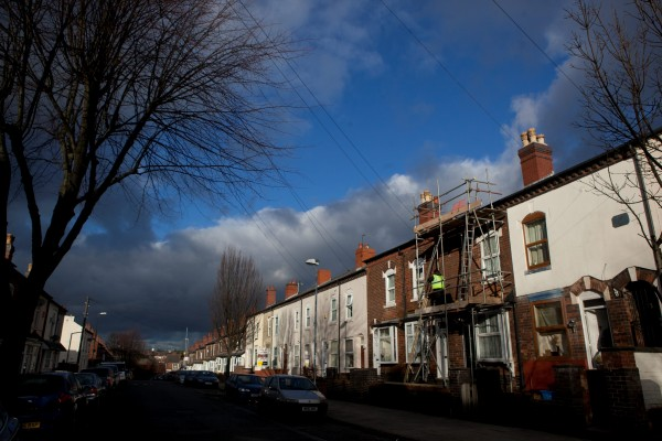 Dark clouds loom over James Turner Street in Birmingham which featured in the Channel 4 documentary 'Benefits Street'