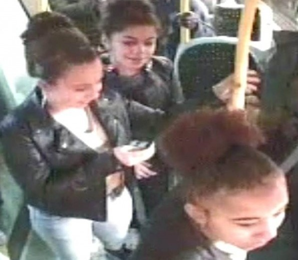 The three girl gang yobs who attacked another female teenager and stole her iPhone before walking away laughing