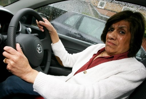 Elizabeth Abdullah in the Nissan Micra she was driving when the steering wheel dropped off