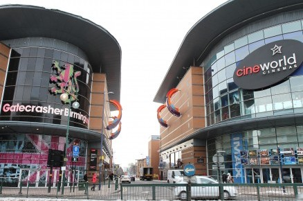 Cineworld cinema on Broad Street in Birmingham city centre where a seven-year-old girl with Down's Syndrome was thrown out of a film because she was laughing too loud
