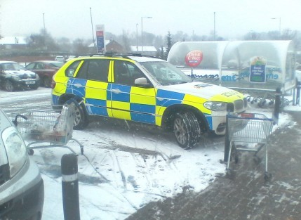 The police 4x4 pictured in the disabled parking space at Tesco's in Congleton, Cheshire