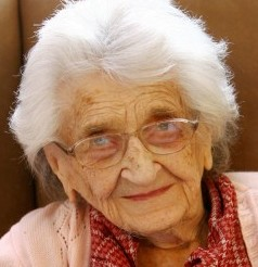 Dorothy Baldwin on her 109th birthday at Springfield Care Home. She has died aged 111