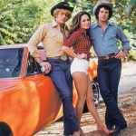 Dukes of Hazzard stars, John Schneider as Bo Duke (left), Catherine as Daisy Duke (centre) and Tom Wopat as Luke Duke (right)