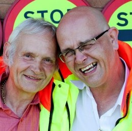 Lollipop man Darren Wardle (right) with his recently traced biological father Paul Ferris (left) who is also a lollipop man