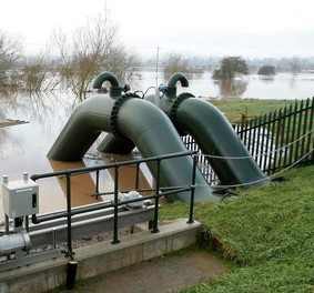 The new £1.7m flood defences in Kempsey in Worcestershire which failed over the weekend allowing Church Street in the village to flood