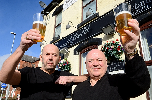 Smithfield pub owner Nigel Barker (left) and licencee John Wilson (right) who had to give away free drinks after a licencing blunder on the opening night