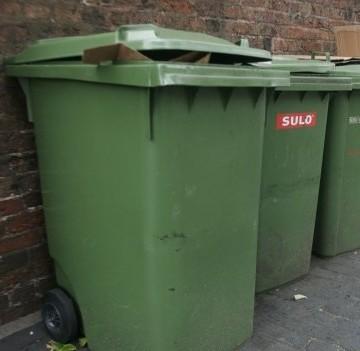 Wheelie bins on Gas Street, Birmingham city centre