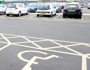 Disable parking spaces at the the University Hospital of North Staffordshire