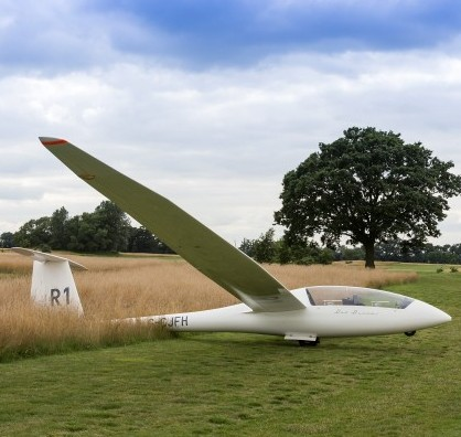 The glider which crash landed on the 16th hole of Stapleford Park golf club, Leicestershire