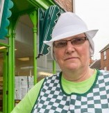 Tina Pocklington of Pocklington'€™s bakers in Louth, Lincolnshire which has been upsetting customers, due to its Lime Green colour