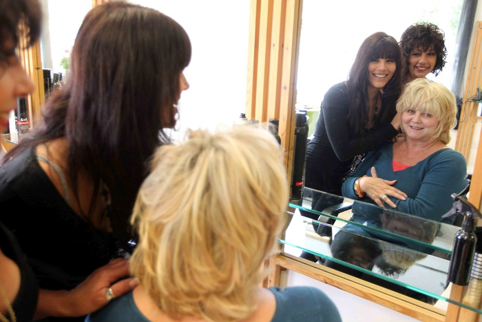 Loyal Susan Parker-Jones with hairdressers Georgina Arnaoutis and her mum Jo Sparks. Susan has been using the salon for 37 years