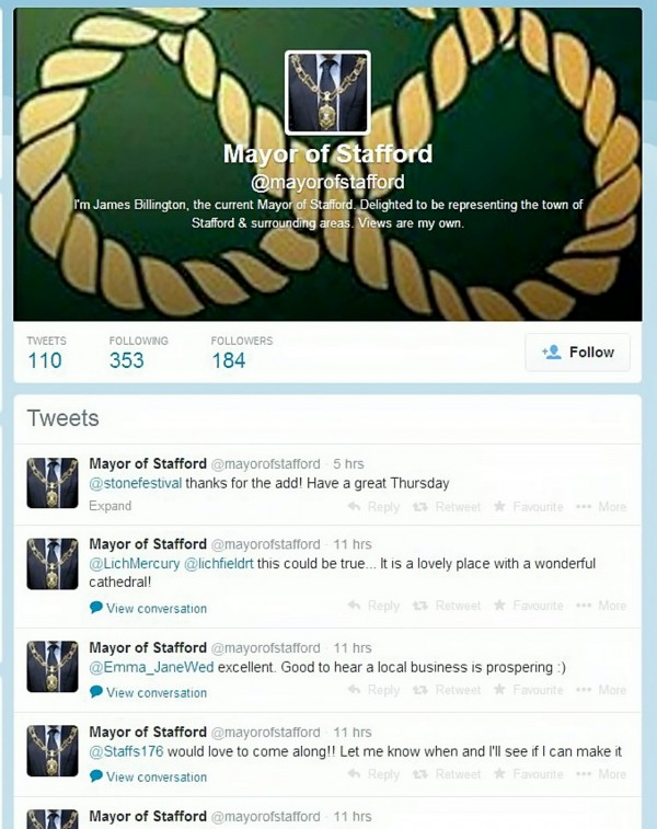 Twitter account of the hoax Mayor of Stafford