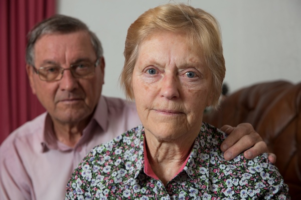 Hilda Holland, 79, with her husband John. She was knocked out by a falling shoe on a Thomas Cook flight